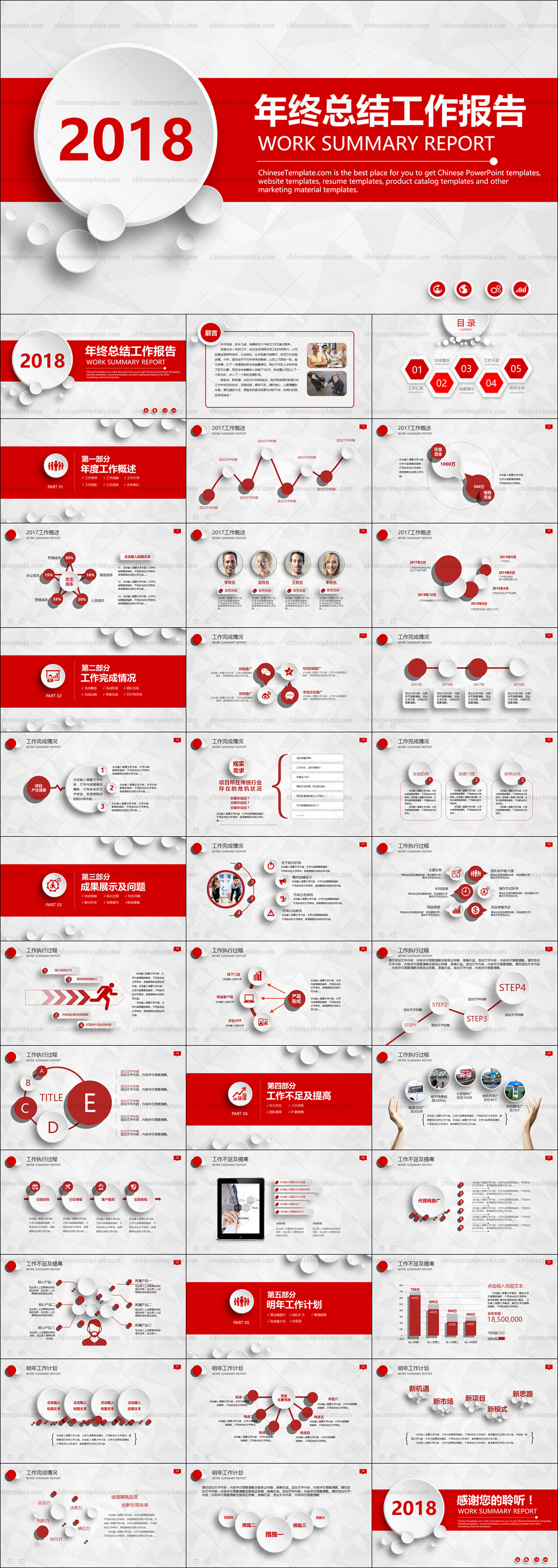 Chinese Red Work Report PowerPoint Template