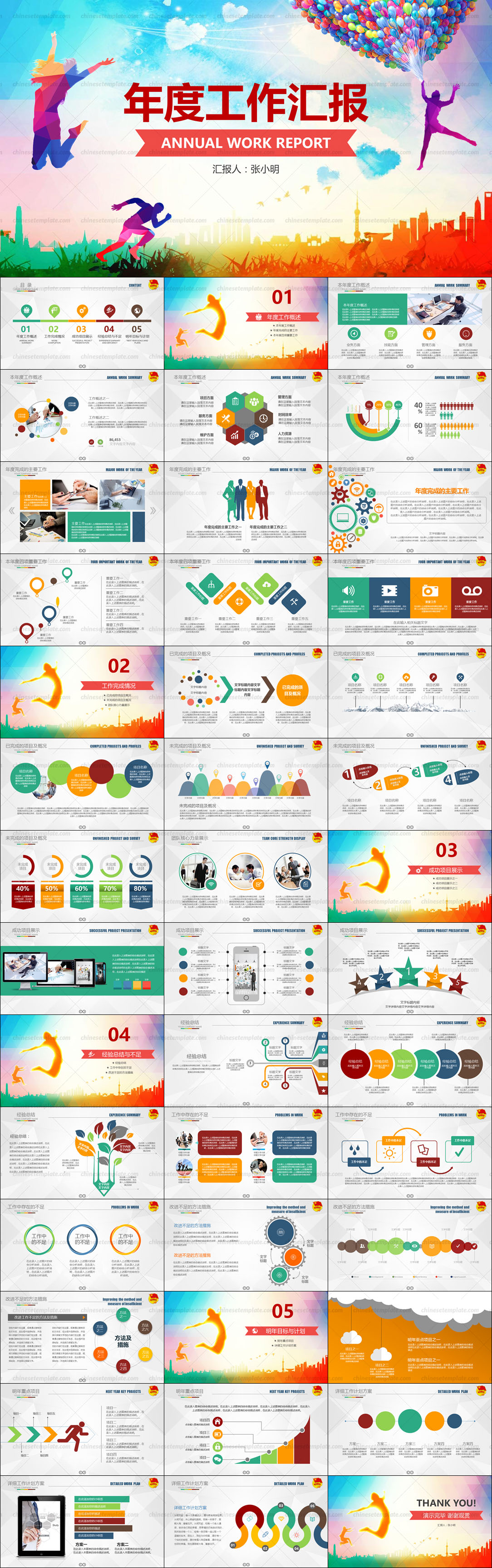 Colorful Work Report PowerPoint Template
